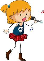 Singer girl singing doodle cartoon character isolated vector