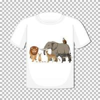 Wild animal group design on tshirt isolated vector