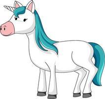 Cute unicorn with blue mane cartoon character vector