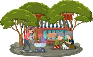 People in the park with many trees on white background vector