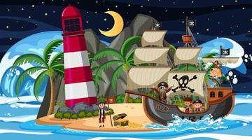 playa en escena nocturna con personaje de dibujos animados de niños piratas en el barco vector