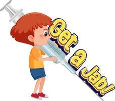 un niño médico sosteniendo una jeringa de vacuna con una fuente de pinchazo vector