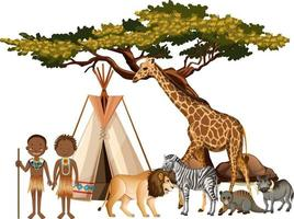 African tribe with group of wild african animal on white background vector