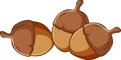 Many acorns cartoon style isolated vector
