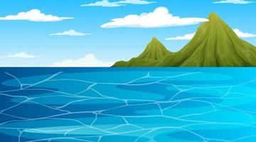 Ocean at daytime landscape scene with mountain background vector