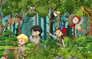 Forest scene with many children doing different activities vector