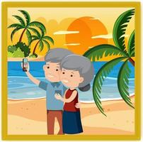 A picture of an old couple selfie together at the beach vector