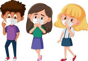 Set of different kids wearing mask cartoon character vector