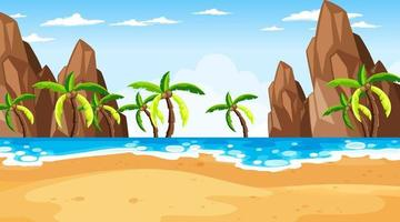 Tropical beach scene with many palm trees at day time vector