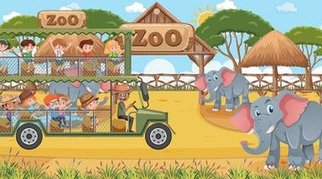 Safari at daytime scene with children watching elephant group vector