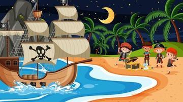 Escena de playa por la noche con niños piratas en la isla del tesoro vector