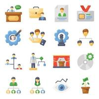 conjunto de iconos de trabajo en equipo y gestión vector