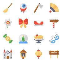 Christmas and Halloween icon set vector