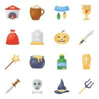 Halloween Accessories and Horror icon set vector