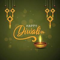 Happy diwali the festival of light with vector illustration of diwali diya