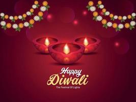 Diwali the festival of light, Happy diwali indian festival celebration greeting card with creative diwali diya and garland flower vector