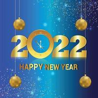 Happy new year 2022 invitation card with golden wall clock vector