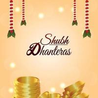 Ilustración de vector de shubh dhanteras con moneda de oro y flor de guirnalda