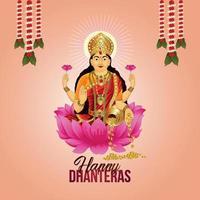 ilustración vectorial de la diosa laxami para la feliz celebración de dhanteras tarjeta de felicitación vector