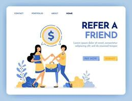 Illustration of refer a friend to get reward, money, profit, points, salary. Networking to get money. Multi level marketing worker. Design concept for banner, landing page, web, website, poster, ui ux vector