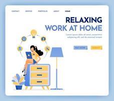 Ilustración de trabajo en casa. mujer independiente que trabaja en una tableta y se sienta en la parte superior del armario, vestida con ropa acogedora para el estudio y la educación en línea. concepto de diseño para banner, página de destino, cartel, web vector