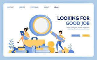 Illustration of apply for job. Jobseeker holds a magnifying glass to find work. Young women sit on briefcases stacks of stationery. Design concept for banner, landing page, web, website, poster, ui ux vector