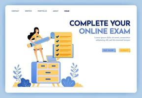 Illustration of work at home. Freelance woman holding a pencil and completing online exam or survey. Study at home with a laptop. Design concept for banner, landing page, web, website, poster, ui ux vector
