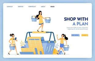 Illustration of shopping with plan. Women carrying bags and lists for shopping. Monthly spending on shopping in e-commerce or grocery. Design concept for banner, landing page, web, website, poster, ui vector