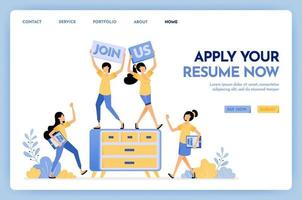 Illustration of join us hiring people. People applying for jobs by submitting resumes. We are hiring work at home for freelance jobs. Design concept for banner, landing page, web, website, poster, ui vector
