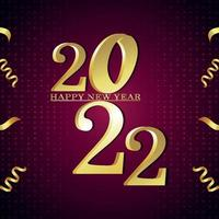 Happy new year 2022 celebration greeting card and background vector
