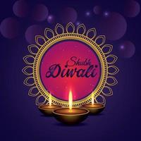 Ilustración de vector de feliz celebración de diwali tarjeta de felicitación sobre fondo púrpura