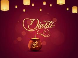 Feliz tarjeta de felicitación de celebración de diwali con olla brillante creativa y lámpara de diwali vector