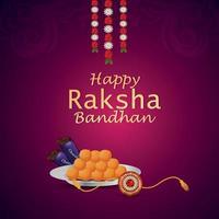 Feliz celebración del festival indio raksha bandhan tarjeta de felicitación con piedra de cristal y dulces vector