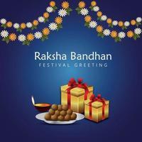 festival indio feliz raksha bandhan celebración tarjeta de felicitación con ilustración vectorial de rakhi y regalos vector
