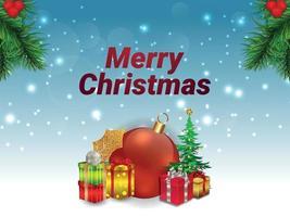 Ilustración creativa de fondo y tarjeta de felicitación navideña feliz vector