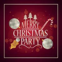 Tarjeta de felicitación de invitación de fiesta de Navidad feliz con bolas de fiesta creativas sobre fondo rojo vector