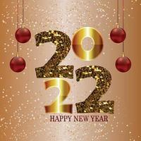 efecto de texto dorado brillante del fondo de celebración de feliz año nuevo 2022 vector