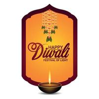 Happy diwali festival of light with diwali diya on yellow background vector