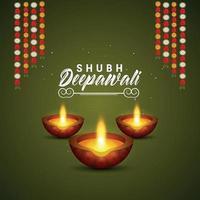 tarjeta de felicitación de invitación feliz diwali con lámpara de aceite y diya vector