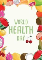 Plantilla de póster vertical del día mundial de la salud con colección de frutas orgánicas frescas. colorida ilustración dibujada a mano sobre fondo verde claro. comida vegetariana y vegana. vector