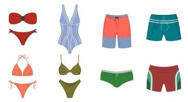 Set of swimwear and swimming trunks. Male and female summer clothes in cartoon style. vector