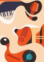 Poster template with guitar and piano. vector