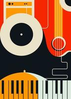 Poster template with abstract musical instruments. vector
