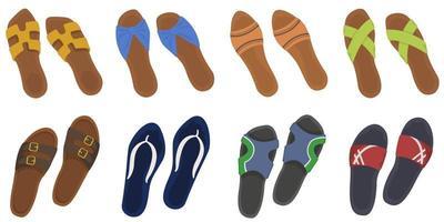 conjunto de chanclas de verano. calzado masculino y femenino en estilo de dibujos animados. vector