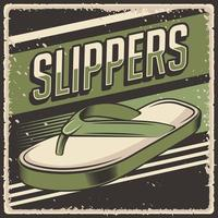 Retro vintage illustration vector graphic of Slippers fit for wood poster or signage
