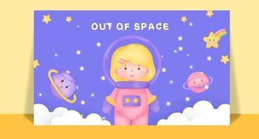 Watercolor cute girls in space post card . vector