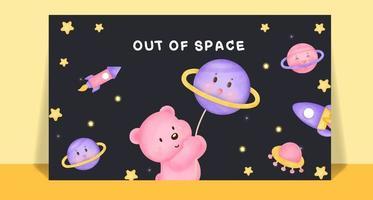 Watercolor cute bear on the moon post card . vector