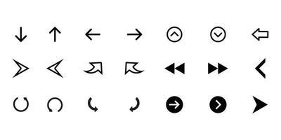 flechas grandes iconos de conjunto negro. icono de flecha. colección de vectores de flecha. flecha. cursor. flechas simples modernas. ilustración vectorial