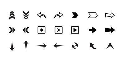 conjunto de flechas. colección de iconos de flecha. establecer diferentes flechas o diseño web. estilo plano de flecha aislado sobre fondo blanco vector
