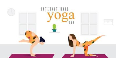 Women practicing yoga at home on international yoga day vector
